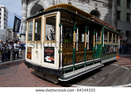SAN FRANCISCO - AUG 20: A cable car turns around at the end of its line on August 20, 2011 in San Francisco. It is the oldest mechanical public transport in San Francisco since 1873. - stock photo