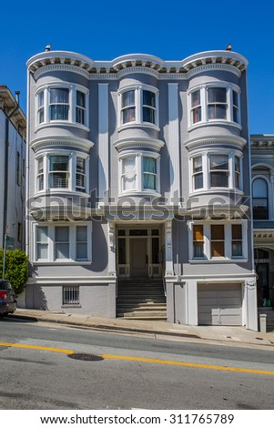 SAN FRANCISCO - August 2015: Historic victorian apartment building in San Francisco, CA - stock photo