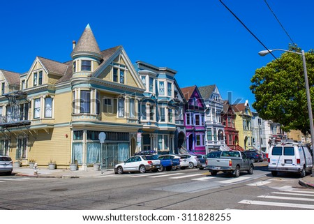 SAN FRANCISCO - August 2015: Historic victorian houses in San Francisco, CA - stock photo