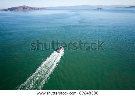 San Francisco bay and Alcatraz aerial view - stock photo