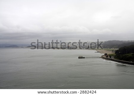 San Francisco Bay and City From Bridge - stock photo