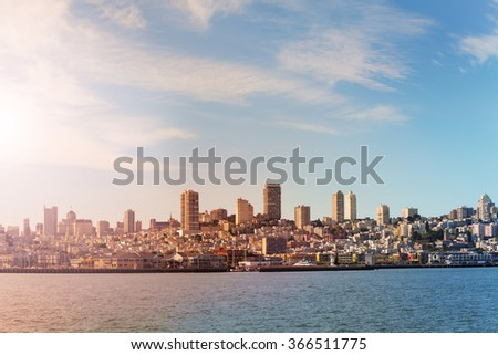 San Francisco bay and down view from water - stock photo