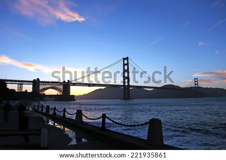 San Francisco Bay and the Golden Gate Bridge - stock photo