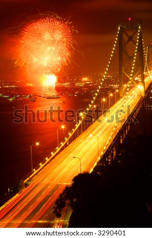 san francisco bay bridge fireworks - stock photo