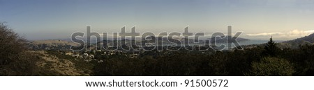 San Francisco bay from golden gate to Sausalito - stock photo