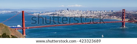 San Francisco bay. Golden Gate Bridge with San Francisco city and bay bridge as background. - stock photo