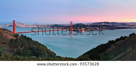 San Francisco Bay. Image of Golden Gate Bridge with San Francisco skyline in the background. - stock photo