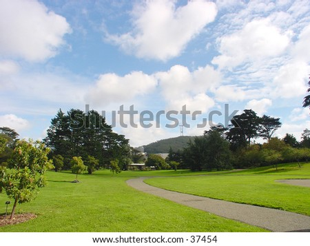 San Francisco Botanical Gardens at Strybing Arboretum with Sutro Tower in the background - stock photo