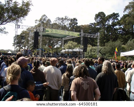 SAN FRANCISCO, CA - APRIL 22: Stephen Marley featuring Junior Gong sings at Music & Arts Festival - the nation's largest celebration of Earth Day in Golden Gate Park, San Francisco April 22, 2007 - stock photo