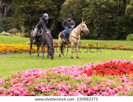 SAN FRANCISCO, CA - AUGUST 16, 2014 - San Francisco Police on Horse back in Golden Gate Park San Francisco. - stock photo