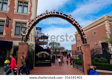SAN FRANCISCO, CA - DECEMBER 12, 2015: Ghirardelli Square in San Francisco. - stock photo