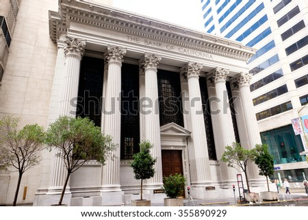 SAN FRANCISCO, CA - DECEMBER 13, 2015: The Bank of California in the financial distric of downtown San Francisco.