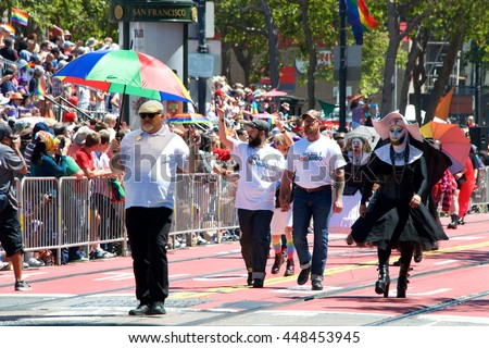 "San Francisco, CA - June 26, 2016: Unidentified participants at the 46th annual San Francisco Gay Pride Parade. This year's theme ""For racial and economic justice""."