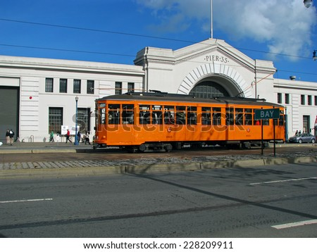 SAN FRANCISCO, CA - NOVEMBER 18: Cable Car parked at Pier 35 2012 - stock photo