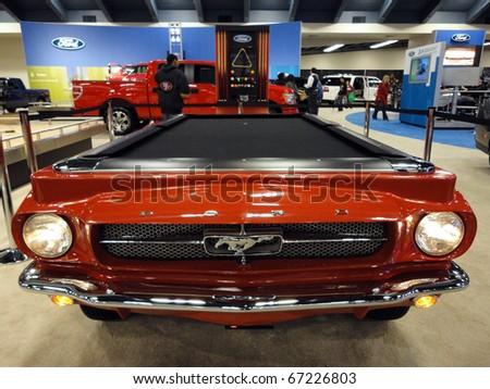 SAN FRANCISCO, CA - NOVEMBER 20: Ford Mustang turned into a Pool table on display at the 53rd San Francisco International Auto Show, on  November 20, 2010 San Francisco, California. - stock photo
