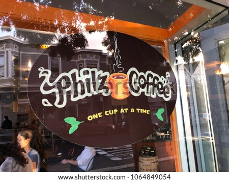 SAN FRANCISCO, CA - NOVEMBER 13, 2017: Philz Coffee in San Francisco California is known for adding mint to their coffee and they only do drip coffee.