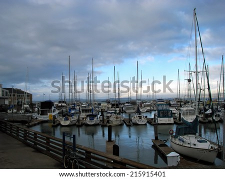 SAN FRANCISCO, CA - NOVEMBER 17: San Francisco Boats docked at Marina Pier 39 November 17, 2012 in San Francisco, California - stock photo