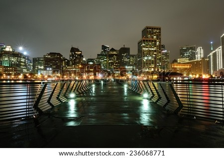 SAN FRANCISCO, CA - NOVEMBER 30: Skyline of San Francisco's Financial District as seen from Pier 14 on November 30, 2014 in San Francisco, California.