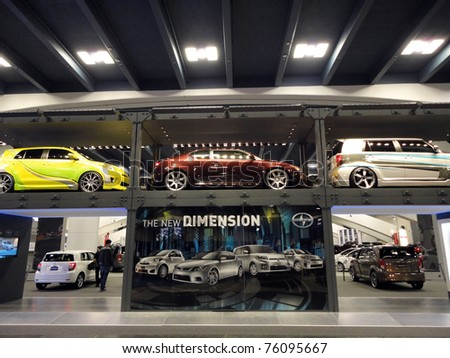 SAN FRANCISCO, CA - NOVEMBER 20: Two Floor display of Scion Cars at the 53rd International Auto Show on November 20, 2010 in San Francisco, CA - stock photo