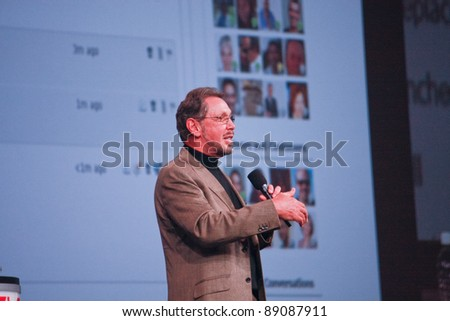 SAN FRANCISCO, CA, OCT 5, 2011 - CEO of Oracle Larry Ellison makes his first speech at Oracle OpenWorld conference in Moscone center on Oct 5, 2011. He is the third in the Forbes list - stock photo