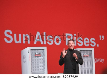 SAN FRANCISCO, CA, OCT 2, 2011 - CEO of Oracle Larry Ellison makes his first speech at Oracle OpenWorld conference in Moscone center on Oct 2, 2011. He is the third in the Forbes list of richest US - stock photo