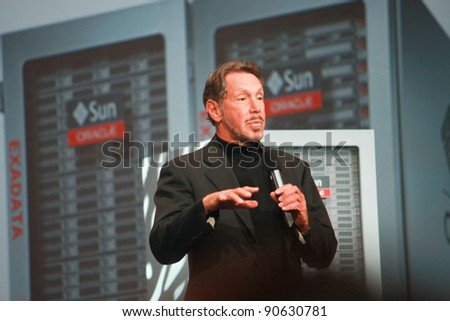 SAN FRANCISCO, CA, OCT 2, 2011 - CEO of Oracle Larry Ellison makes his first speech at Oracle OpenWorld conference on Oct 2, 2011. He is the third in the Forbes list of richest US persons - stock photo