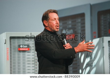 SAN FRANCISCO, CA-OCT 2: CEO of Oracle Larry Ellison makes his first speech at Oracle OpenWorld conference in Moscone center on Oct 2, 2011 in San Francisco. - stock photo