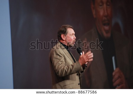 SAN FRANCISCO, CA -  OCT 5: CEO of Oracle Larry Ellison makes his first speech at Oracle OpenWorld conference in Moscone center on Oct 5, 2011 in San Francisco, CA. - stock photo