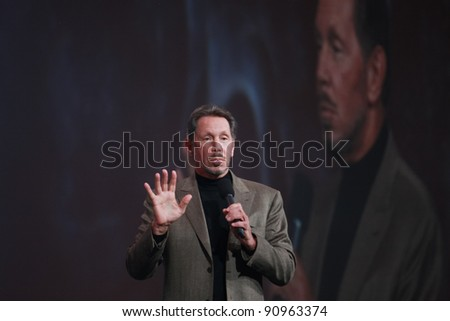 SAN FRANCISCO, CA - OCT 5: CEO of Oracle Larry Ellison makes his first speech at Oracle OpenWorld conference  on Oct 5, 2011 in San Francisco, CA.  He is the third in the Forbes list of richest US persons - stock photo