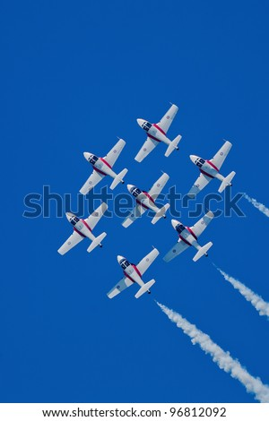 SAN FRANCISCO, CA - OCT 7: The Snowbirds Demonstration Team demonstrate the skill, professionalism, and teamwork of Canadian Forces personnel during Fleet Week on October 7, 2011, San Francisco, CA - stock photo