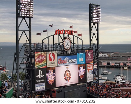 SAN FRANCISCO, CA - OCTOBER 28: ATT Park HDTV Scoreboard in the outfield bleachers displays 'Roberto Clemente Award 2010' on Scoreboard at AT&T Park on October 28, 2010 in San Francisco California. - stock photo