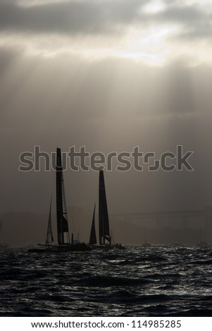 SAN FRANCISCO, CA - OCTOBER 4: Ben Ainslie Racing and Energy Team compete in the America'??s Cup World Series sailing races in San Francisco, CA on October 4, 2012 - stock photo