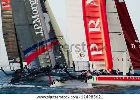 SAN FRANCISCO, CA - OCTOBER 4: Ben Ainslie Racing and Luna Rossa Piranha compete in the America'?s Cup World Series sailing races in San Francisco, CA on October 4, 2012 - stock photo