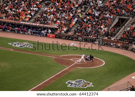 SAN FRANCISCO, CA - OCTOBER 28: Buster Posey stands in the batters box waiting for a pitch in game 2 of the 2010 World Series between San Francisco Giants and Texas Rangers on Oct. 28, 2010 in AT&T Park, San Francisco, CA. - stock photo