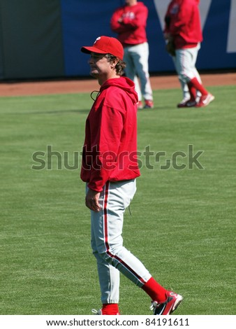 SAN FRANCISCO, CA - OCTOBER 19: Giants vs. Phillies: Phillies Jamie Moyer walks in the outfield during batting practice game 3 NLCS 2010 October 19, 2010 AT&T Park San Francisco. - stock photo