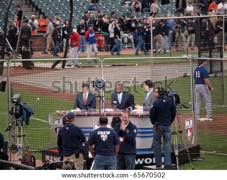 SAN FRANCISCO, CA - OCTOBER 28: MLB Network Broadcast team gets ready for pre-game TV show at game 2 of the 2010 World Series game between Giants and Rangers Oct. 28, 2010 AT&T Park San Francisco. - stock photo