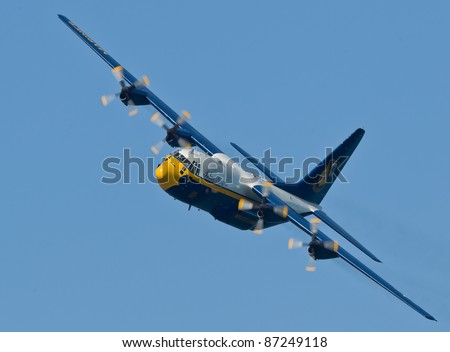 SAN FRANCISCO, CA - OCTOBER 6: US Navy Lockheed-Martin C-130T Hercules, affectionately known as Fat Albert Airlines is on display during 2011 Fleet Week on October 6, 2011 in San Francisco, CA. - stock photo