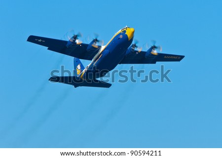 SAN FRANCISCO, CA - OCTOBER 8: US Navy Lockheed-Martin C-130T Hercules, affectionately known as Fat Albert Airlines is on display during 2011 Fleet Week on October 8, 2011 in San Francisco, CA. - stock photo