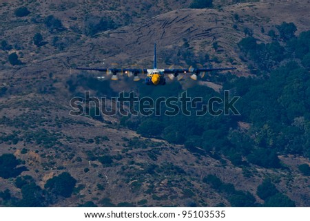 SAN FRANCISCO, CA - OCTOBER 8: USMC Lockheed-Martin C-130T Hercules, affectionately known as Fat Albert Airlines is on display during 2011 Fleet Week on October 8, 2011 in San Francisco, CA. - stock photo