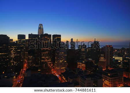SAN FRANCISCO, CA -1 SEP 2017- Sunset over the downtown San Francisco skyline. San Francisco is one of the most expensive real estate markets in the United States.