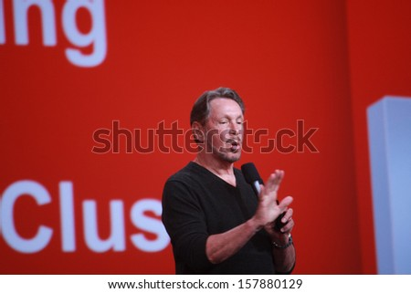 SAN FRANCISCO, CA, SEPT 22, 2013 - CEO of Oracle Larry Ellison makes his speech at Oracle OpenWorld conference in Moscone center on Sept 22, 2013. He is third in the Forbes list of richest US persons  - stock photo