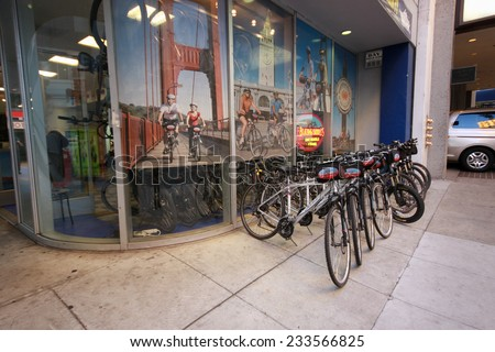 SAN FRANCISCO, CA, US - OCT 2, 2012: Blazing Saddles rental bicycle office in San Francisco on October 2, 2012. Company began its business in 1982  - stock photo