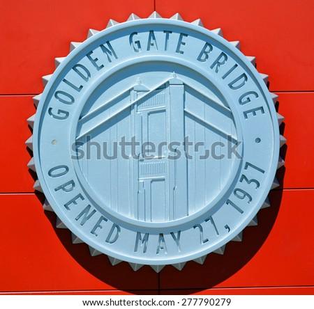 SAN FRANCISCO  CA USA APRIL 17 2015: Golden gate bridge memorial plaque the men who built the bridge and Joseph Baermann Strauss was an American structural chief engineer of the Golden Gate Bridge. - stock photo