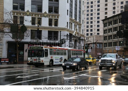 San Francisco, CA, USA - December 23, 2015: The San Francisco Muni Bus is operated by the San Francisco Municipal Transportation Agency, the consolidation of the Muni, DPT and the Taxicab Commission.
