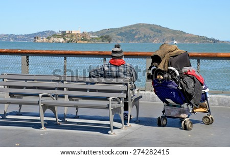 SAN FRANCISCO CA USA 04 12 2015: Homeless has one of the Golden State most intractable problems. In San Francisco words like crisis and epidemic often describe the vast number of people on the street. - stock photo