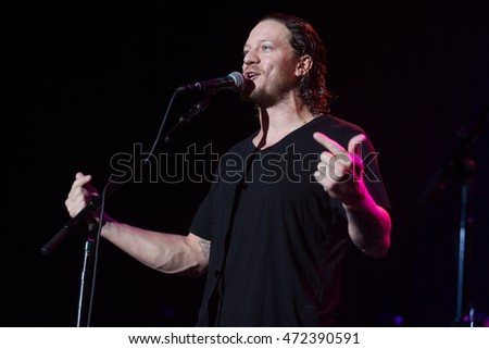 San Francisco, CA/USA - 8/17/16: San Francisco Giants pitcher Jake Peavy speaks at The Fillmore.  He's a two time World Series champion, Cy Young Award winner, and three time All Star player.