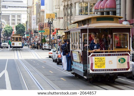 San Francisco cable car at Union Square - stock photo