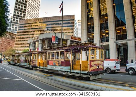 San Francisco Cable Car on California Street, November 13 2015, San Francisco USA - stock photo
