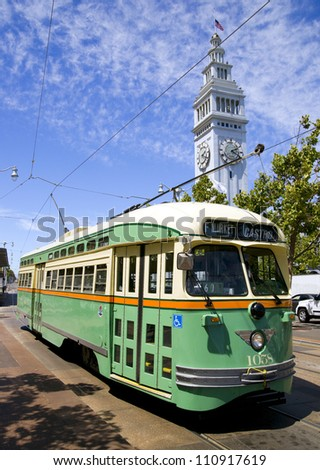 San Francisco Cable Trolley Car moves through the street California people mover transportation - stock photo