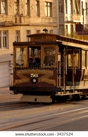 San Francisco Cablecar climbing up the California Street. - stock photo